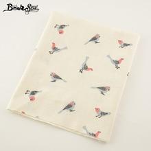 Booksew Printed Bird Design Cotton Linen Fabric Home Sewing Material For Tablecloth Pillow Bag Curtain Cushion Zakka Tissu CM