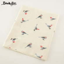 Booksew printed bird design cotton linen fabric home sewing