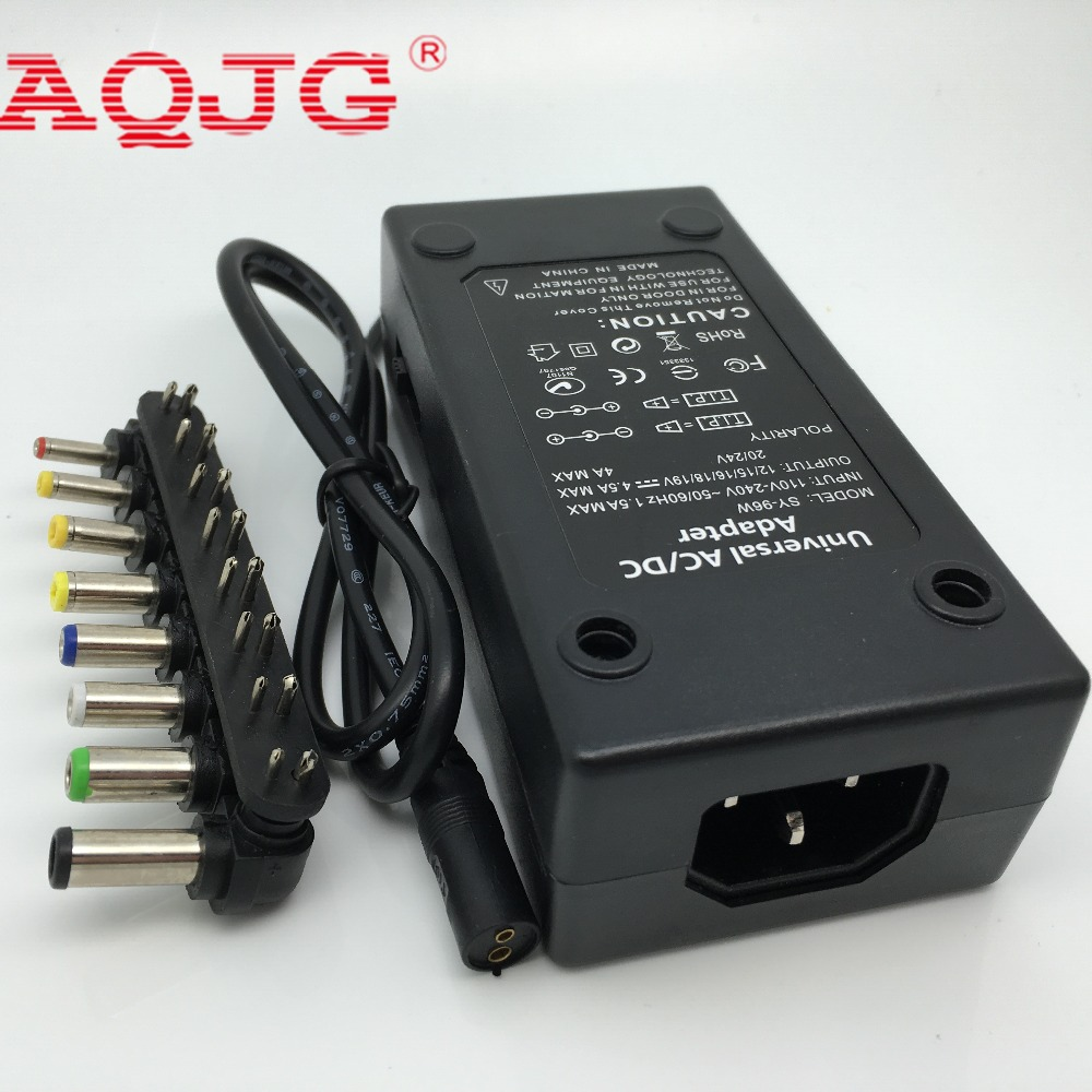 110-220v AC To DC 12V/15V/16V/18V/19V/20V/24V Laptop Charger Adapter 96W Universal Laptop PC Netbook Power Supply Charger  Black