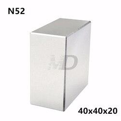 1 шт. Блок 40x40x20 мм супер сильный N52 Высокое Качество редкоземельные магниты неодимовый магнит