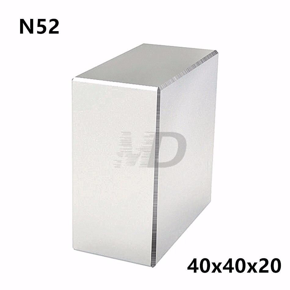 1 pcs Block 40x40x20mm Super Forte N52 di alta qualità magneti Della Terra Rara Magnete Al Neodimio