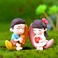 2Pcs/Set Cute Lovers Miniatures Garden Fairy Mini Figures Resin Ornaments Figurine Micro Landscape Decoration