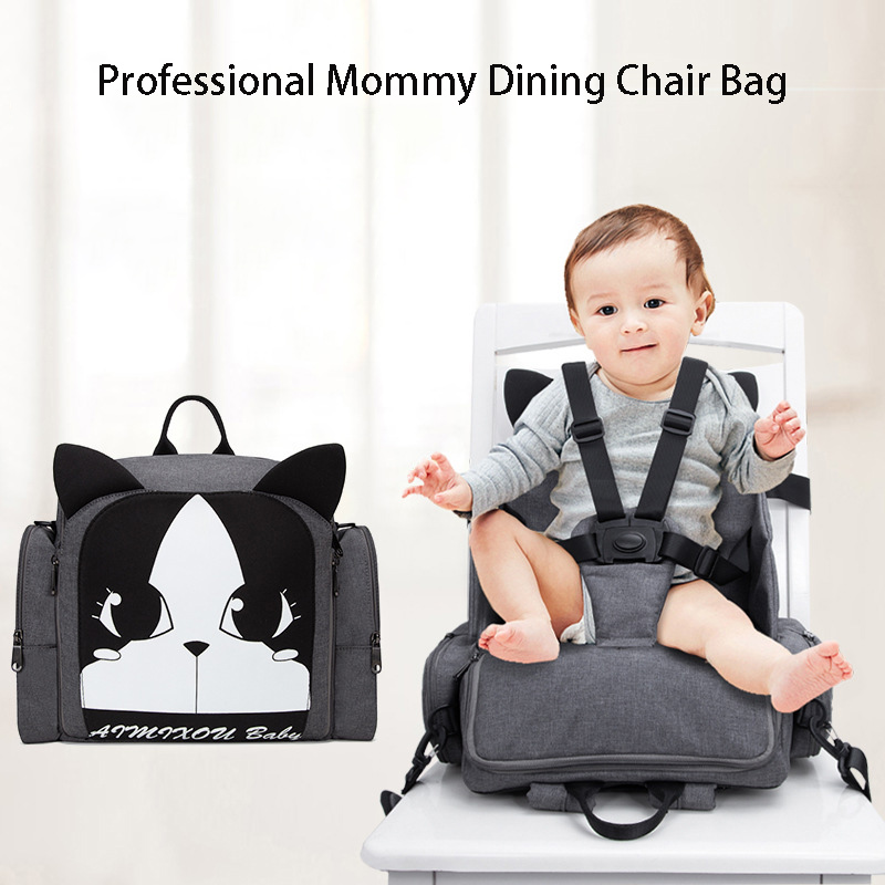 Baby Dining Chair Multi function Diaper Backpack Large Mummy Bag Waterproof Safe Belt Booster Seat can