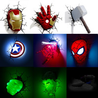 Marvel avengers LED wall lamp bedroom living room 3D creative Light Ironman for Spiderman Hulk Deadpool Captain American Quake