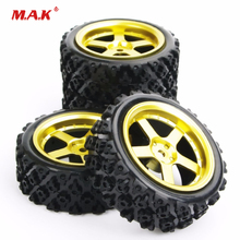 4Pcs/Set Car Parts Rubber Tires and Wheel Rim with 6mm Offset 12mm Hex fit Rally Racing Off Road RC Accessories
