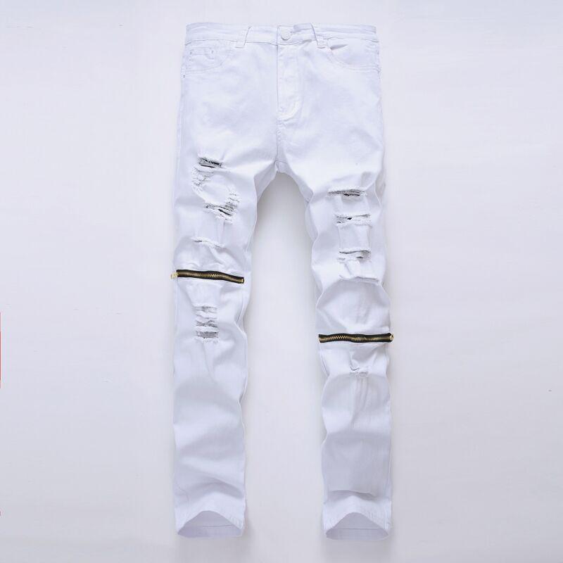 EVJSUSE hip hop Men Jeans masculina Casual Denim distressed Solid Slim denim pants Brand skinny jeans ripped jeans homme zipper