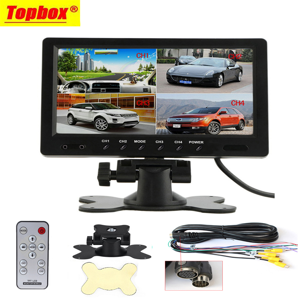 9 TFT LCD Split Screen Quad Monitor CCTV Security Surveillance Car Headrest Rear View Monitor 4