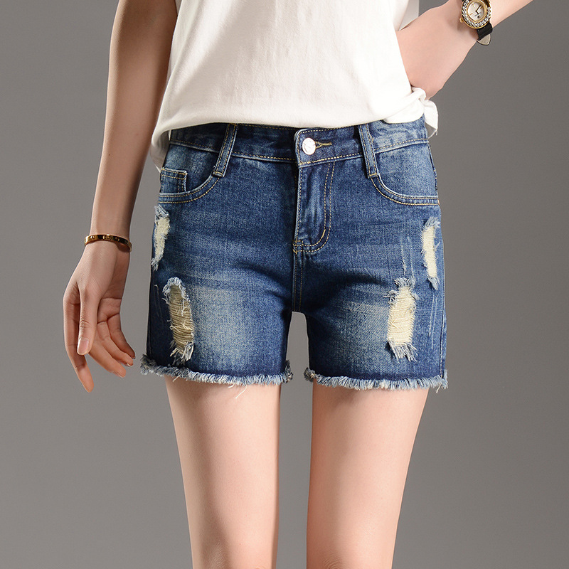 2016 new large size hole denim shorts female summer Sexy thin ladies shorts straight edges Women Blue Fashion Short Jeans S2087