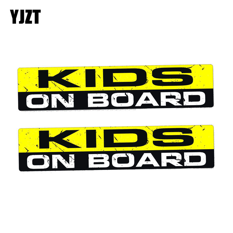 YJZT 2X 19CM*4.1CM Warning KIDS ON BOARD Personality Body Car Sticker PVC Decal 12-0054