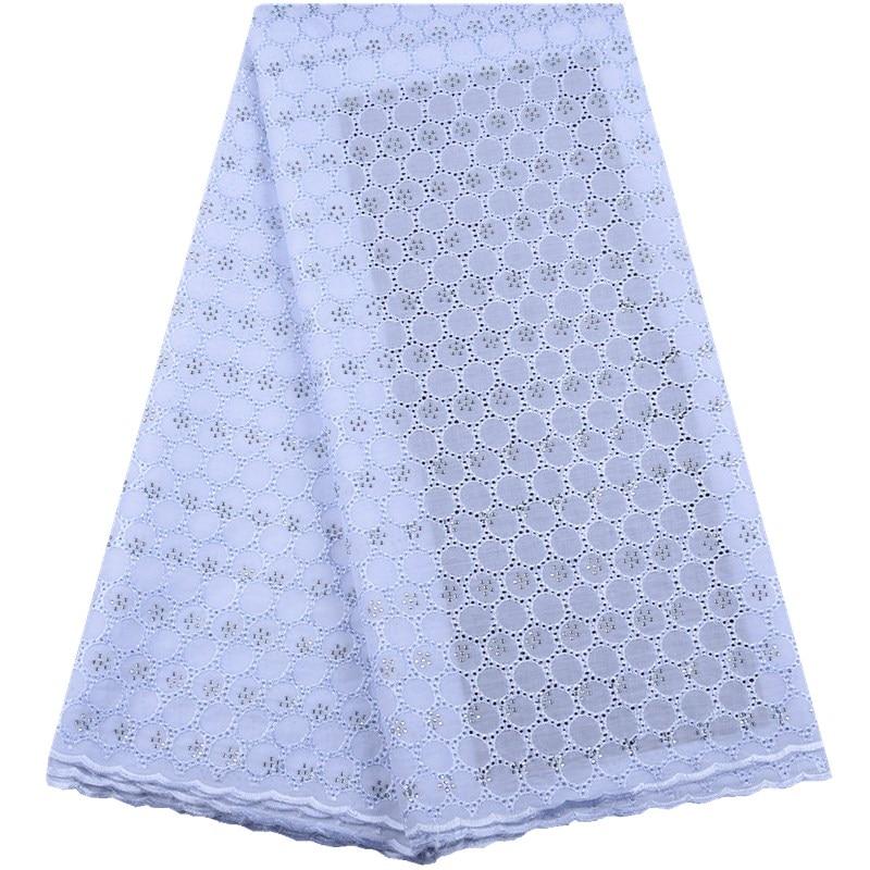Haute qualité suisse Voile dentelle en suisse 2019 africain pur blanc coton Voile dentelle tissu avec des pierres nigérian dentelle Y1554-in Dentelle from Maison & Animalerie    1