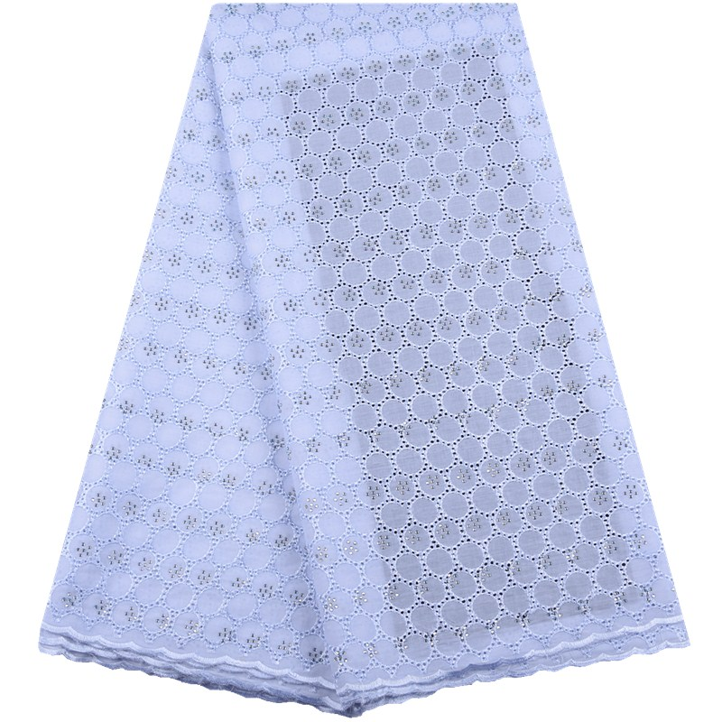 High Quality Swiss Voile Lace In Switzerland 2019 African Pure White Cotton Voile Lace Fabric With Stones Nigerian Lace Y1554-in Lace from Home & Garden    1