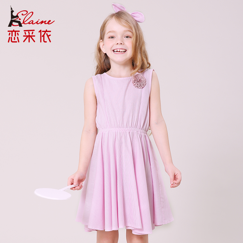 2017 Hot Sale Liancaiyi Girls Summer Dress Kids Sleeveless Hollow out Style Solid 3D Floral Children Pleated Dress Clothes