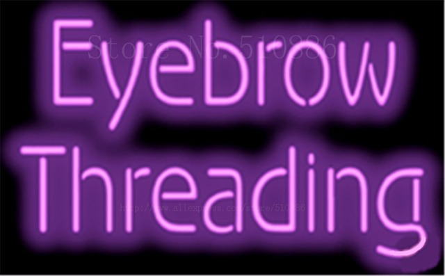 "17*14"" Eyebrow Threading NEON SIGN REAL GLASS BEER BAR PUB LIGHT SIGNS store display  Restaurant  Shop Advertising Lights"