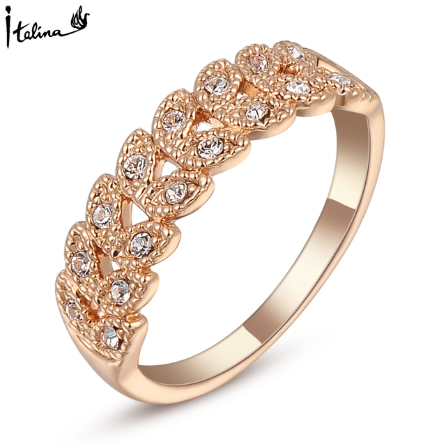 Настоящее Italina Кольца для женщин Подлинная Австрийский хрусталь 18 К Роуз Позолоченные Старинные Кольца Новое Распродажа Горячая # RG95683Rose