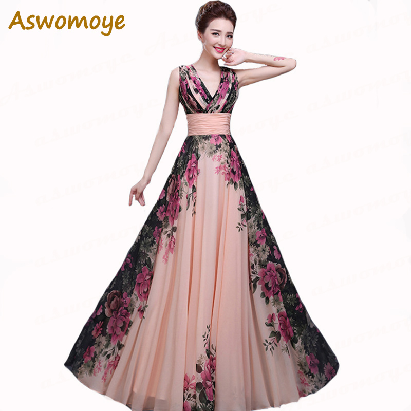 2018 New Arrival Flower Print Floor-Length Evening Dress Chiffon V-Neck Lace Up Evening Dresses Gowns Plus Size Custom Made LF43
