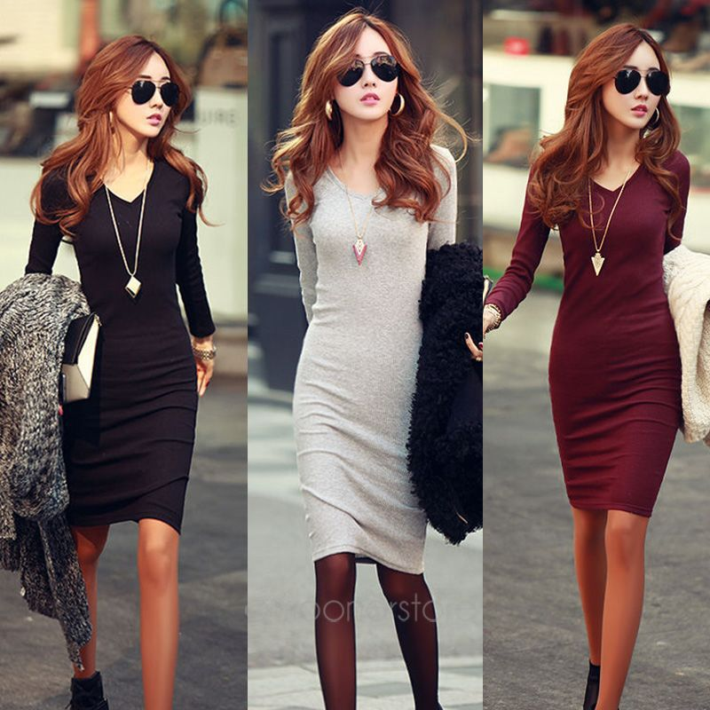 Women's Clothing Free Shipping New V-neck Fashion Work Sliming Knee-length Pocket Party Elebrity Pencil Dress