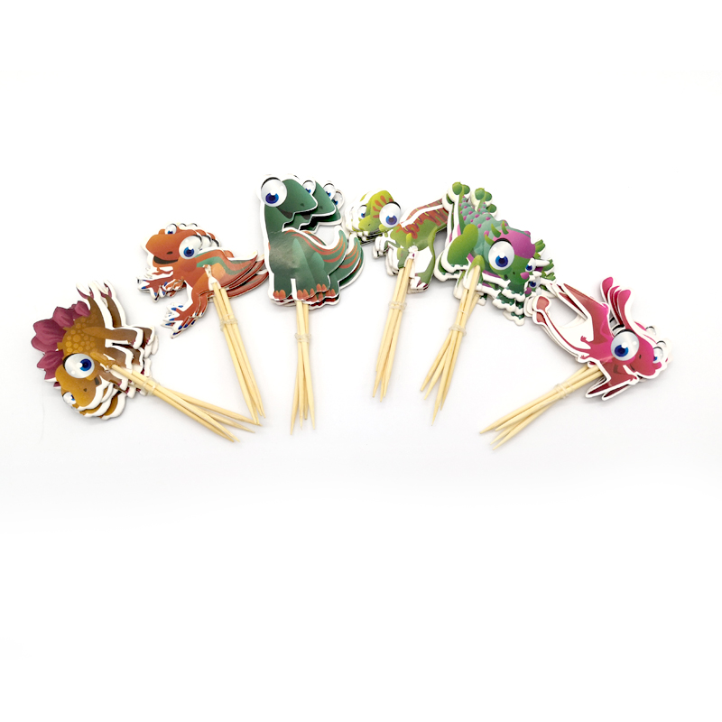 Cartoon Dinosaur Theme Decorations Baby Shower Party Kids Boys Favors Happy Birthday Cupcake Cake Toppers With Sticks 24pcs/pack