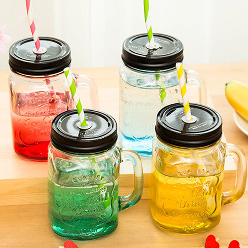 1pcs Mason Jar With Lid Straw Color Mug Cool Drink 17oz