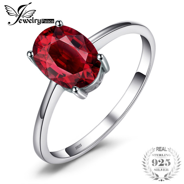 JewelryPalace 1.6ct Genuine Red Garnet Solitaire Rings For Women Oval Cut Solid