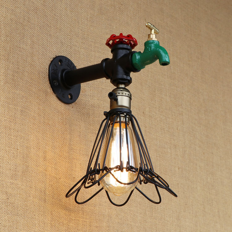 Vintage wall lamp indoor lighting iron rust Rrtro Water pipe sconce lights lampshade for living room bedroom restaurant bar E27 steampunk loft 4 color iron water pipe retro wall lamp vintage e27 e26 sconce lights for living room bedroom restaurant bar