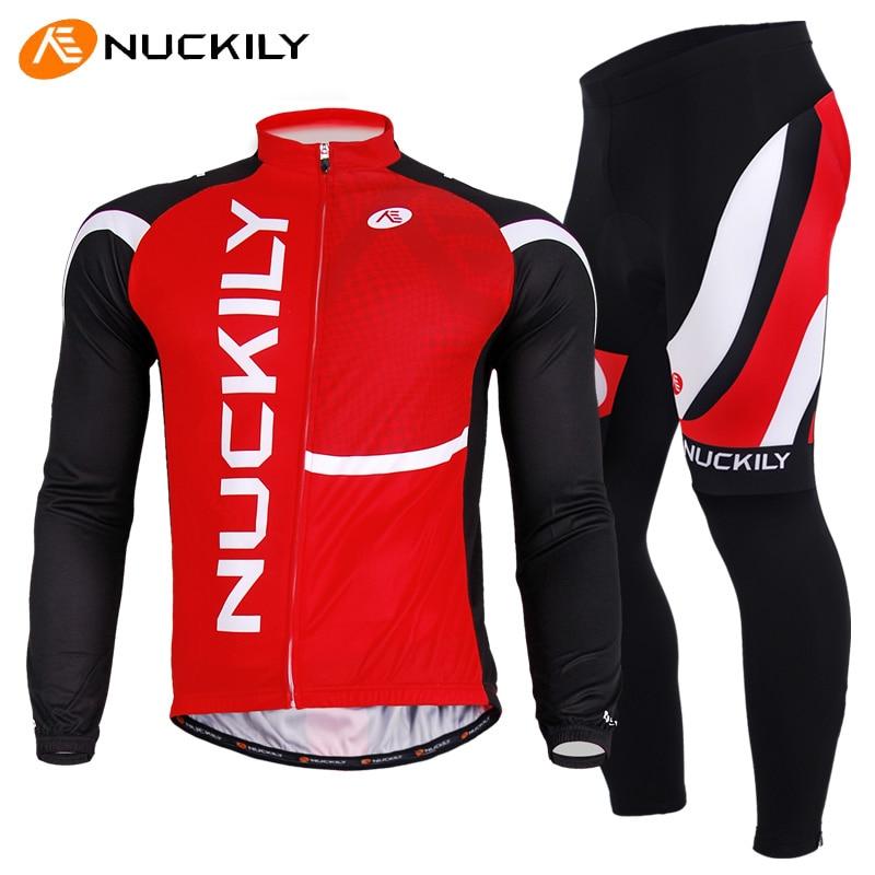 ФОТО NUCKILY Men Cycling Jersey Sets Bike Riding Long Sleeve Jersey + Pants Suit Roupa Ciclismo Masculino Cycle Clothing Gray Pad