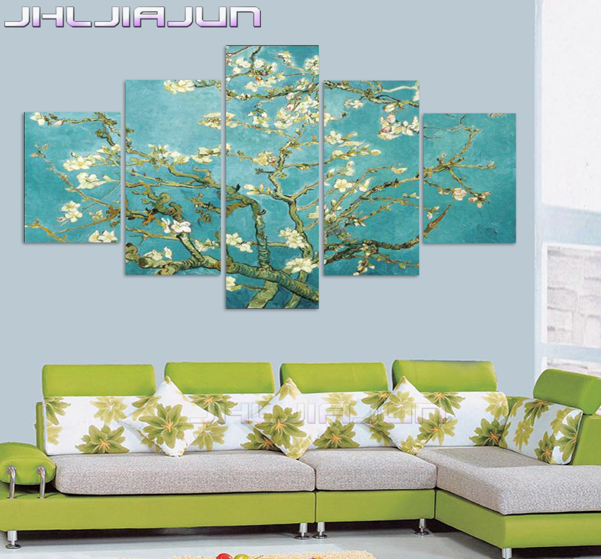 5 panel canvas art koi fish wall art chinese painting wall for Large panel wall art