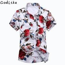 2017 Fancy Short Sleeve Shirt Men Summer Fashion Casual Plus Size Mens Floral Shirts High Quality Flower Social 6XL