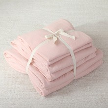 4pcs 100 cotton soft jersey knit fabric elegant pink for girls lady solid color bed set with quilt cover and fitted sheet