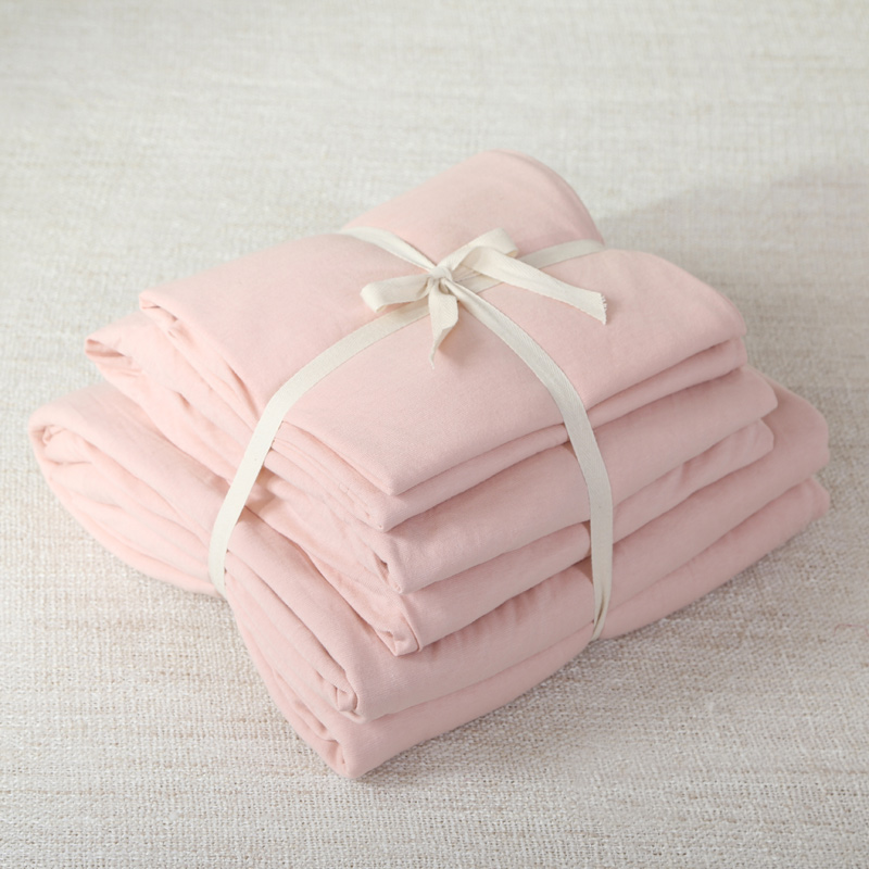 4pcs 100 cotton soft jersey knit fabric elegant pink for girls lady solid color bed - Jersey Knit Sheets