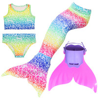 4pcs Kids Swimmable Children Mermaid Tail With Monofin Fin Cosplay Girls Swimsuit Little Mermaid Tail Costume