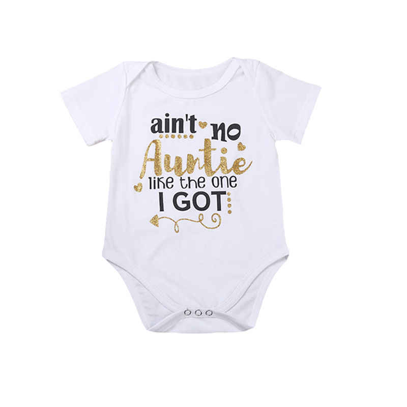 2ad6f163c4d5 Pudcoco Bran Newest Summer Baby Bodysuit Short Sleeve Auntie Letter Print  Toddler Kids Boy Girl Body