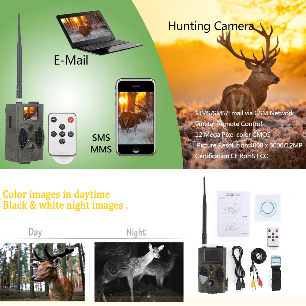 HC300M Hunting Trail Camera HC-300M 12MP Night Vision MMS GPRS Scouting Infrared Wild Camera hc300m 940nm infrared night vision digital trail camera with remote control 2g mms gprs gsm sms control camera for hunting
