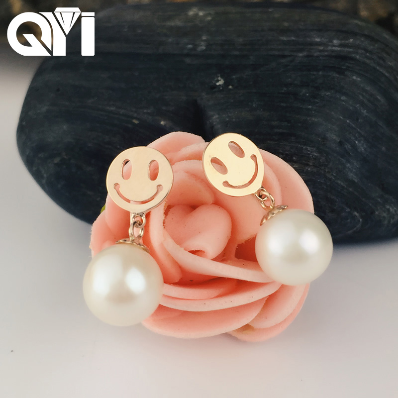QYI Women Brincos Jewelry Present 18K Yellow Gold Natural Cultured Freshwater Pearl Stud Earrings Cute Emoticon Jewelry ainuoshi 18k yellow gold natural cultured freshwater pearl wedding stud earrings big white pearl for women jewelry brincos gift