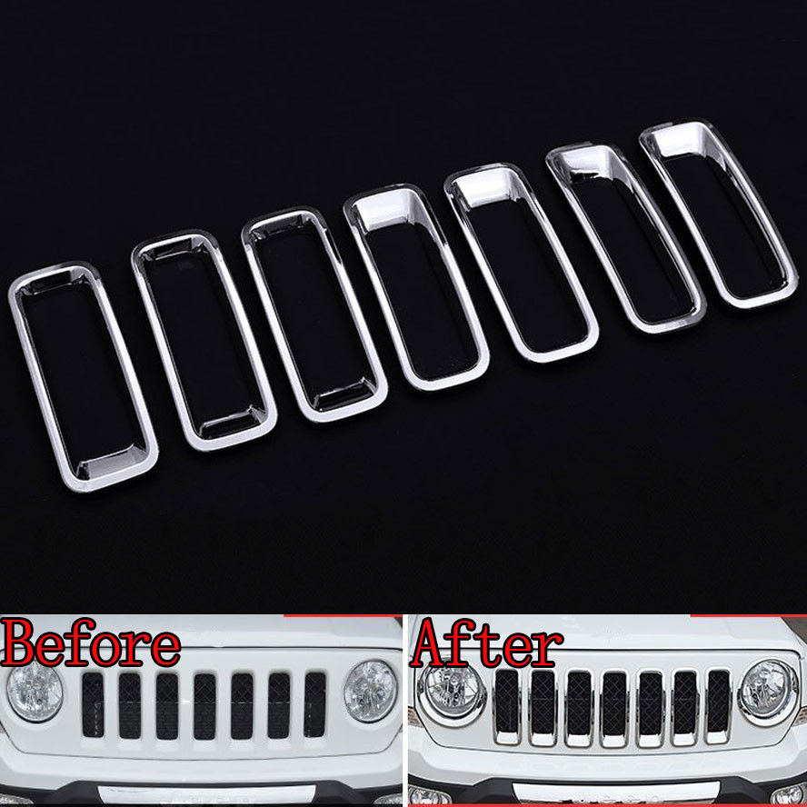 7x Chrome ABS Car Front Grill Inserts Molding Trim Decor Cover Styling Sticker Fit For Jeep