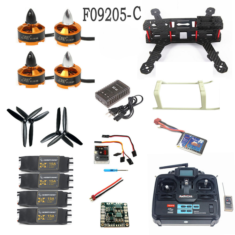 F09205-C Unassembled Kit :250 Mini 250 Carbon Fiber 4-Axis Aircraft Frame with Radiolink T6EHP-E TX&RX Battery Charger 250 mini 250 carbon fiber aircraft frame rtf kit with radiolink t6ehp e tx