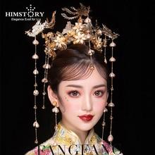 HIMSTORY Luxe Bruiloft Bruid Vintage Chinese Pauw Haaraccessoires Bruids Hoofdtooi Goud Phoenix Tiara Kroon Haar Sieraden