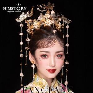 Image 1 - HIMSTORY Luxus Hochzeit Braut Vintage Chinesischen Pfau Haar Zubehör Braut Kopfschmuck Gold Phoenix Tiara Krone Haar Schmuck