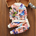 2017 New Children's Clothing Korean Version Fashion Printing Butterfly Children's Long-sleeved Sweater Sets of Two Free Shipping