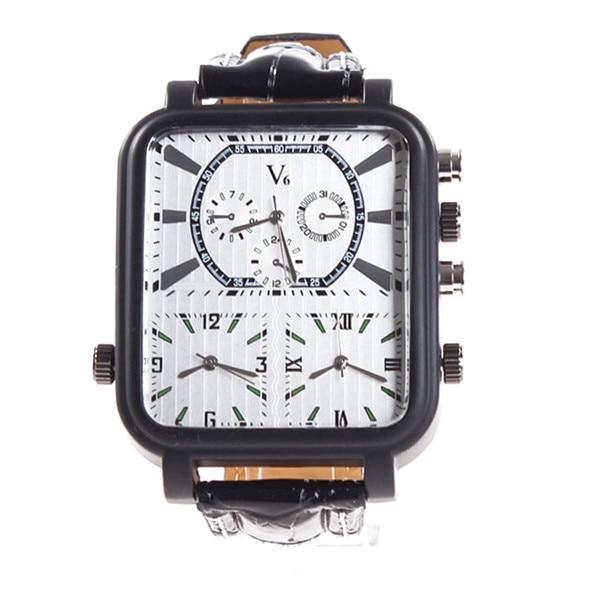 ?Men Casual Fashion V6 Japanese Movement Quartz Watch Men Luxury Brand Square Multi Time Zone Analog Sports Military Watch