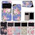 Janela padrão floral fino das mulheres de couro da aleta para iphone 7 plus case