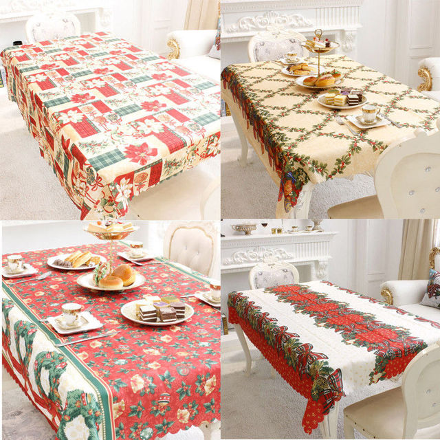 Christmas Party Table Decorations Christmas Mat Wipe Clean Tablecloth  Dining Kitchen Table Cover Christmas Party Decorations