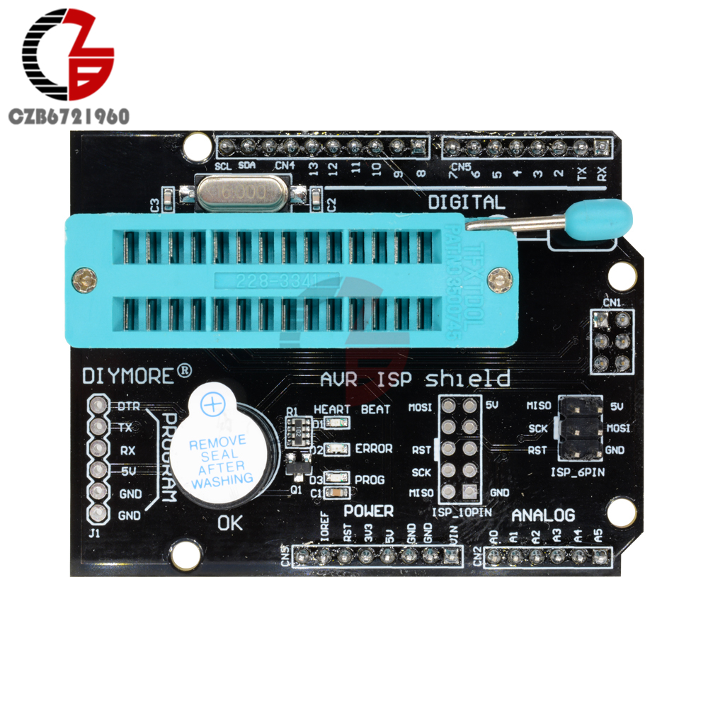 AVR ISP Shield Burning Burn Bootloader Programmer Expansion Board for Arduino UNO R3 stud prototype expansion board red green black proto screw shield assembled