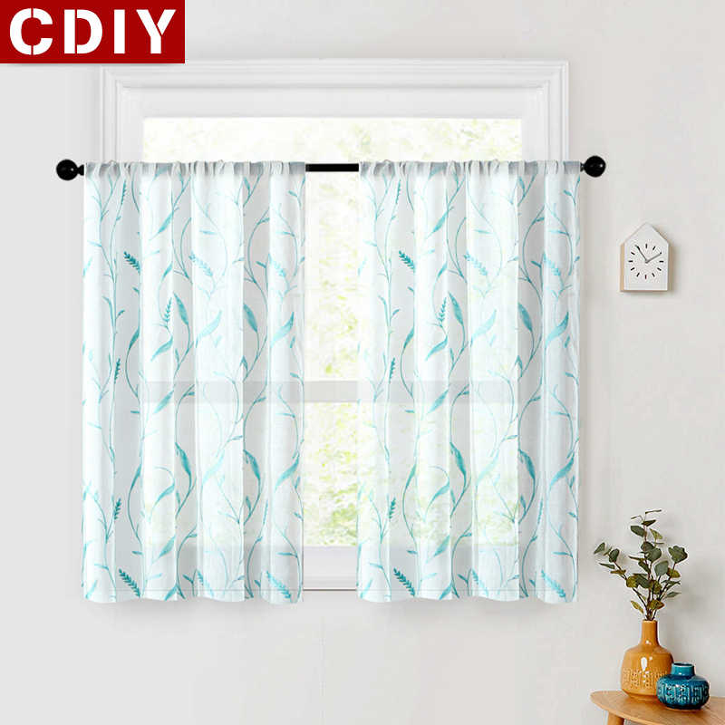 CDIY Short Curtain Tulle Window Sheer Kitchen Curtains For Living room Bedroom Curtains for Window Screening Voile Drapes Custom