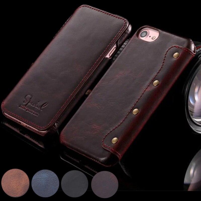 Цена за Ручной работы в стиле ретро натуральная кожа бумажник чехол для iPhone 7 Plus Роскошные Ultra Slim откидная крышка для iPhone 6 6 S Plus 4.7/5.5 телефон Сумка