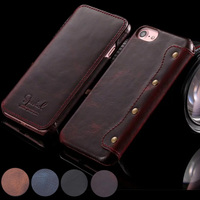 Retro Handmade Genuine Leather Wallet Case For Iphone 7 Plus Luxury Ultra Slim Flip Cover For