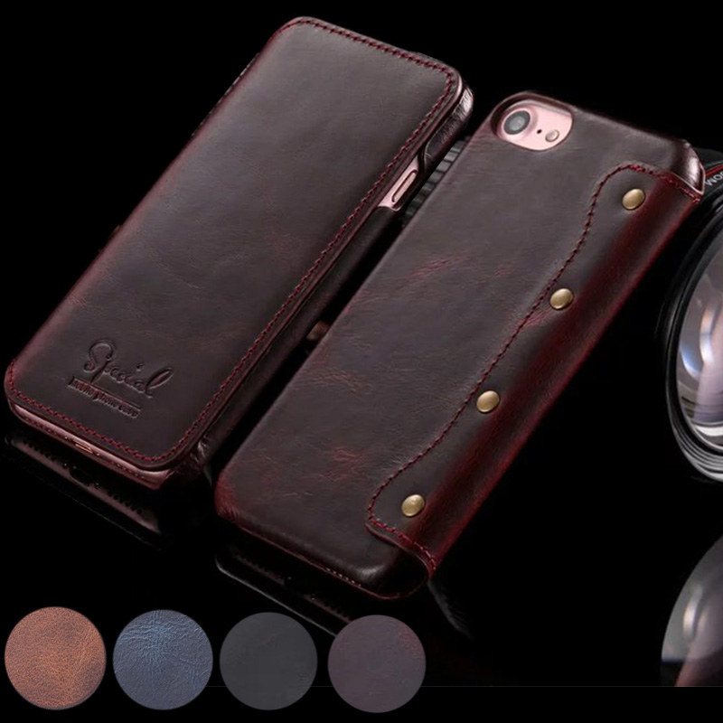 Retro Handmade Luxury Genuine Cow Leather Case for iphone 7 Plus 6 8 Plus Ultra Slim Wallet Flip Case For iphone 6S Plus Cover