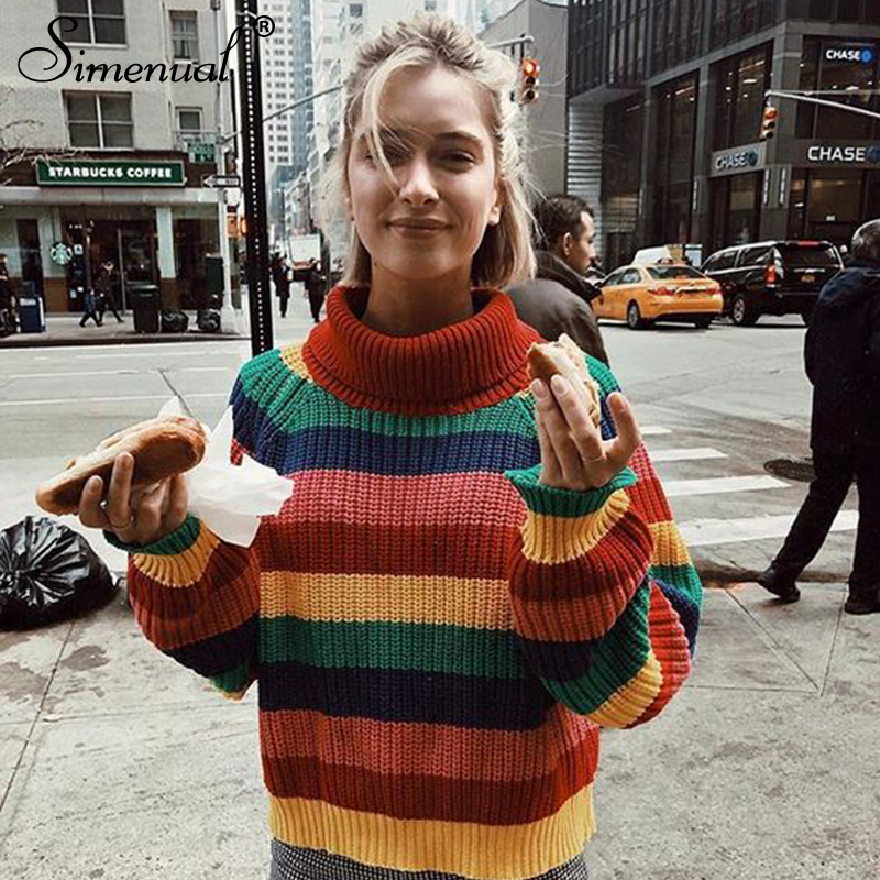 Clearance SaleSimenual Oversized Pullover Sweaters Women Rainbow Turtleneck Knitted Striped Winter