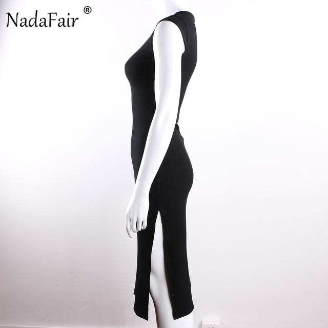 Nadafair 95% Cotton Knitted Short Sleeve High Split Sexy Club Bodycon Party Dress Women Summer Red Black Midi Dress