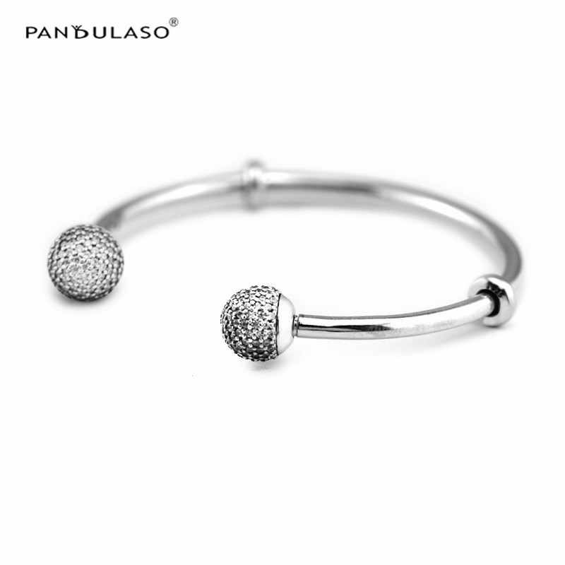 Fashion Women Open Bangles with Clear CZ Crystal Round Ball Closures Original Silver 925 Jewelry DIY