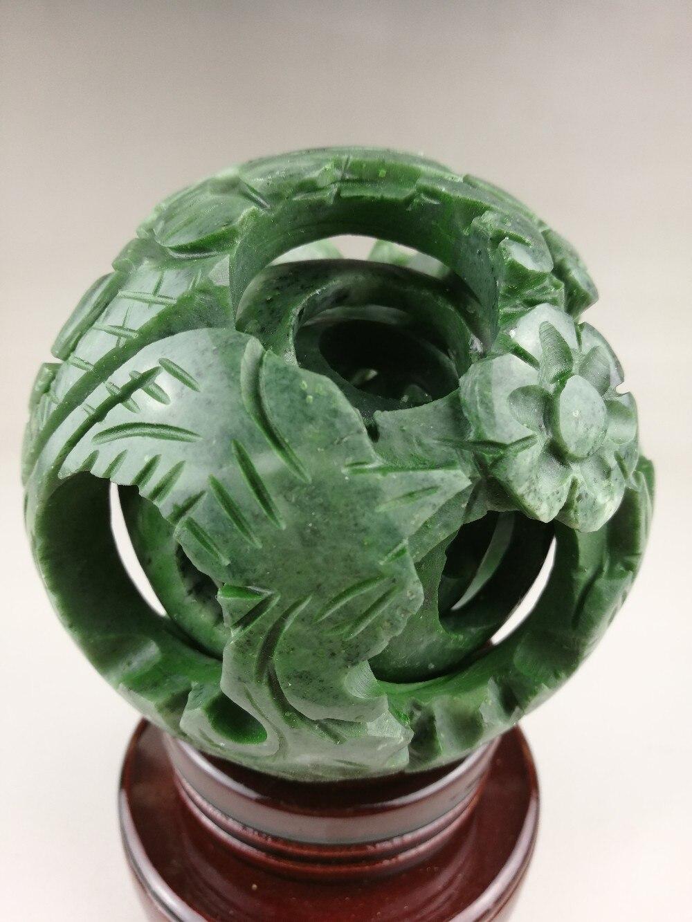 Chinois vieux jade vert sculpté fengshui dragon ball magique avec base en bois exquise boule de jade - 3